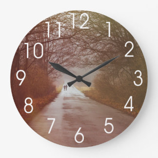 Mysterious Forest, People Walking, Landscape Large Clock