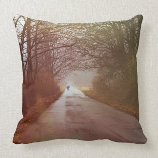 Mysterious Forest, People Walking, Landscape Pillow