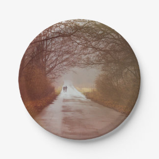 Mysterious Forest, People Walking, Landscape 7 Inch Paper Plate