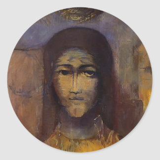 Mysterious Head by Odilon Redon Round Stickers
