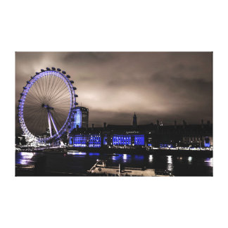 Mysterious London Eye Landscape by Night Canvas