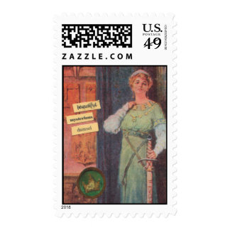 Mysterious Medieval Woman Stamp