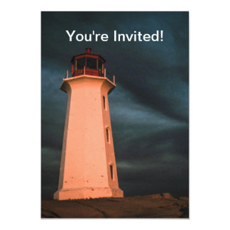 """Mysterious Night at Peggy's Cove, Nova Scotia, Can 5"""" X 7"""" Invitation Card"""