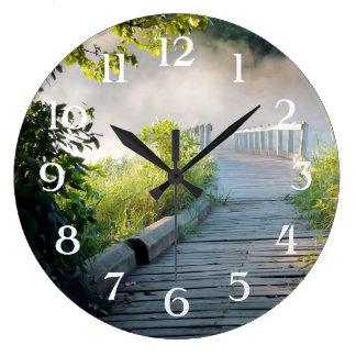Mysterious Path Wood Bridge Wooden Rails Fog Trees Large Clock