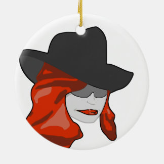Mysterious Redhead Double-Sided Ceramic Round Christmas Ornament
