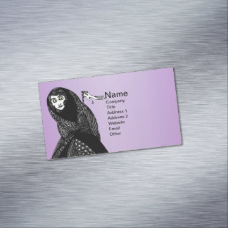 Mysterious Spooky Witch Woman Moon Hand Stars Magnetic Business Card