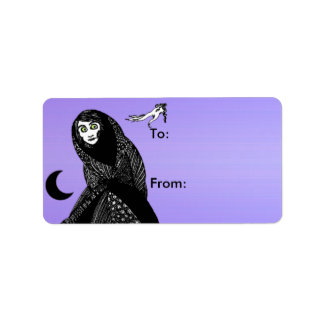 Mysterious Spooky Woman Moon Hand Gift Tags Label