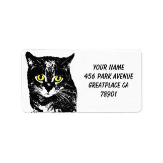 Mysterious Transparent Black Cat Silhouette Label