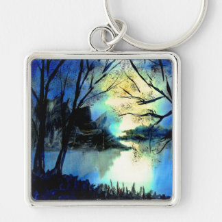 Mysterious Watercolour Sunset Lake Key Ring