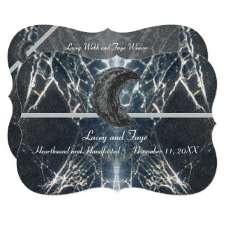 Mysterious Web Goth Gothic Black Gray Handfasting Invitation