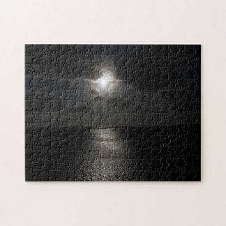 Mysterious white sun in black sky jigsaw puzzle