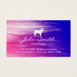 Mysterious White Wolf Forest Ranger Business Card