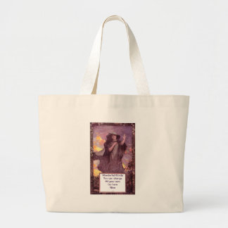 Mysterious Woman Gestures Large Tote Bag