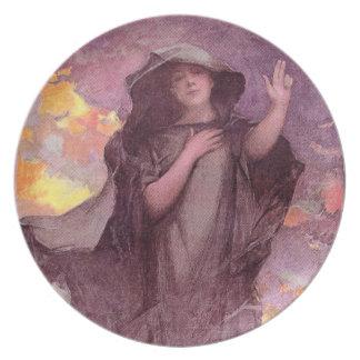 Mysterious Woman Gestures Melamine Plate