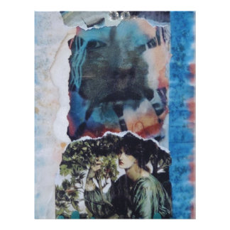 Mysterious Woman Vintage Blue Tie-Dye Letterhead