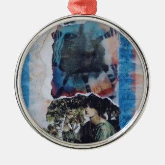 Mysterious Woman Vintage Blue Tie-Dye Ornament