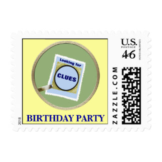 Mystery Birthday Party Postage Stamps