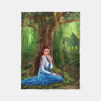 Mystery Fairytale Maiden and Prince in the Forest Fleece Blanket
