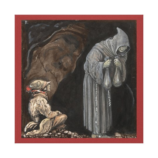 Mystery Figure in Hooded Cloak with Boy Canvas Print