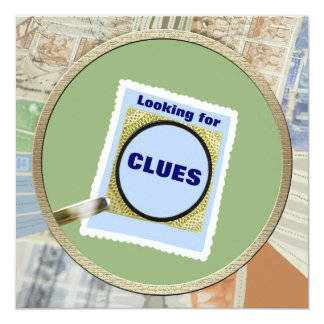 Mystery Magnifying Glass Clues Birthday Party Card
