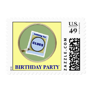 Mystery Magnifying Glass Clues Birthday Party Stamp