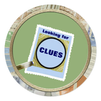 Mystery Magnifying Glass Clues Kids Birthday Party Card
