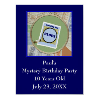 Mystery Magnifying Glass Clues Kids Birthday Party Poster