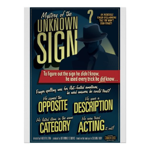 Mystery of the Unknown Sign. Poster.