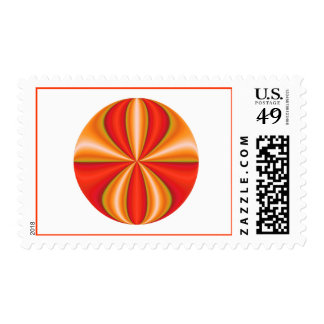 mystery orange circle postage stamps