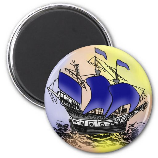 Mystery Tall Ship 2 Inch Round Magnet