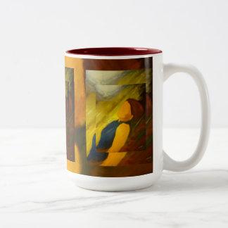 Mystery Woman Impessionism Two-Tone Coffee Mug