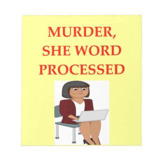 mystery writer notepad