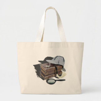 MysteryBooksHatPipeMagnifier042113.png Large Tote Bag