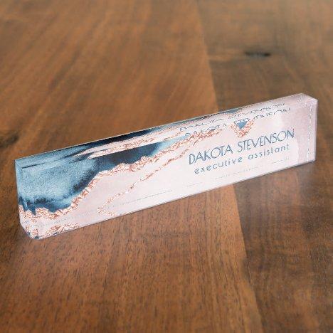 Mystic Agate   Elegant Teal Blue Mauve Blush Pink Desk Name Plate