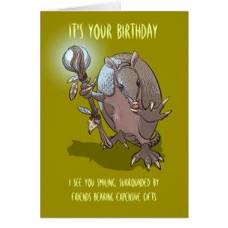 Mystic Armadillo Birthday Prediction Cartoon Card