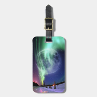 Mystic Beautiful bright big full blue moon Tag For Luggage