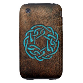 Mystic blue celtic knot on leather iPhone 3 tough cover