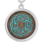 Mystic blue celtic ornament on leather silver plated necklace