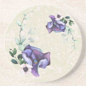 Mystic Blue Flowers and Leaves Art Coaster