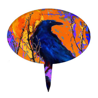 Mystic Blue Raven Moon By Sharles Cake Topper