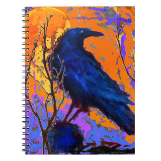 Mystic Blue Raven Moon By Sharles Spiral Notebook