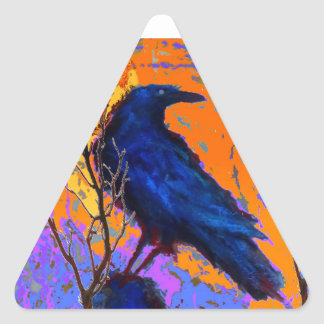 Mystic Blue Raven Moon By Sharles Triangle Sticker