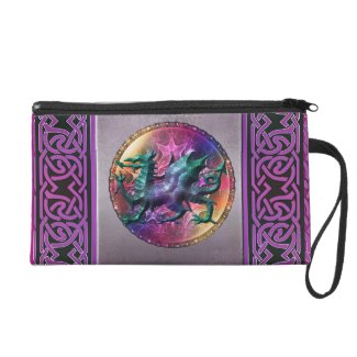 Mystic Celtic Rainbow Dragon Wristlet Purse