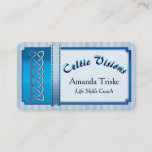 Mystic Celtic Theme, Blue Ribbon, Blue White Color Business Card