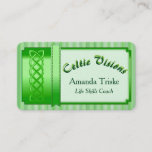 Mystic Celtic Theme, Green Ribbon, in Green, White Business Card
