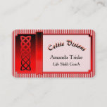 Mystic Celtic Theme, Red Satin Effect Celtic Knot Business Card