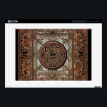 "Mystic Copper Celtic Knot on Tapestry with Chains Laptop Skins<br><div class=""desc"">An intricate Celtic knot symbolizing the eternal cycle of life in black and gold on a sparkling copper round. Underneath an antique tapestry surrounded by a bronze and copper metallic frame of Celtic chains.</div>"