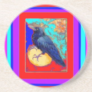 Mystic Crow on Red Purple By Sharles Coasters