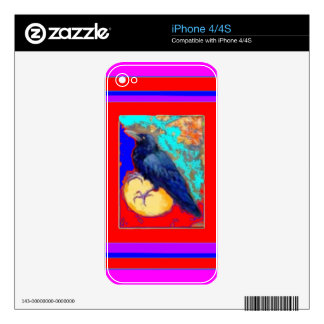 Mystic Crow on Red & Purple By Sharles Skin For iPhone 4S