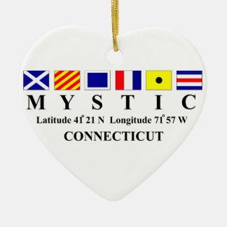 Mystic, CT - Longtitude & Latitude Ceramic Ornament